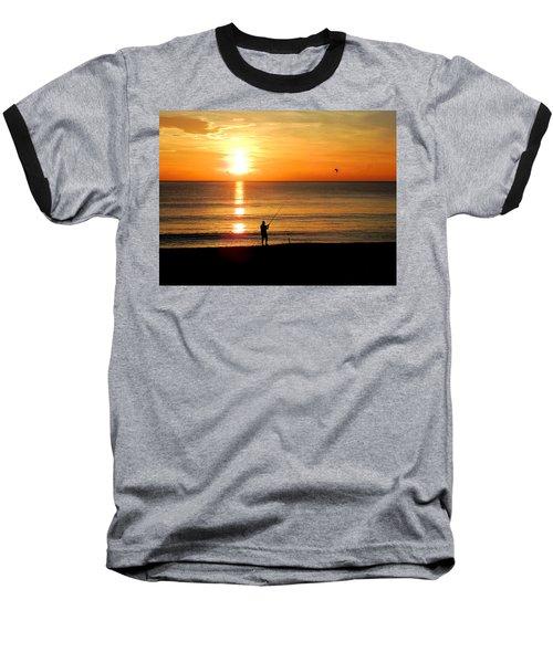 Fishing At Sunrise Baseball T-Shirt