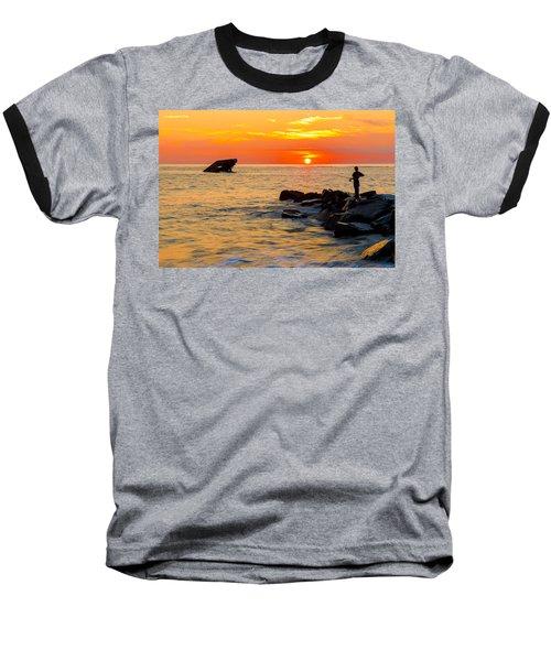 Fishing At Sunset Baseball T-Shirt