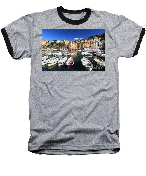 Baseball T-Shirt featuring the photograph fishing boats in Camogli by Antonio Scarpi