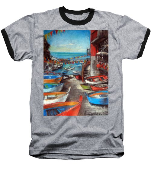 Fishing Boats In Riomaggiore Baseball T-Shirt