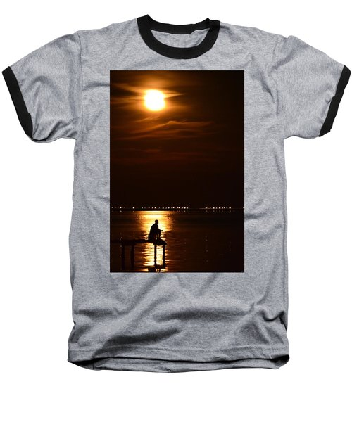 Fishing By Moonlight01 Baseball T-Shirt