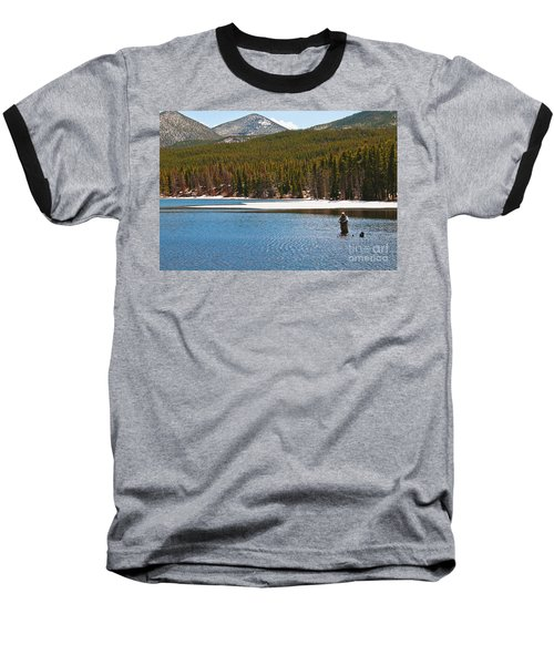 Baseball T-Shirt featuring the photograph Fishing In Winter by Mae Wertz