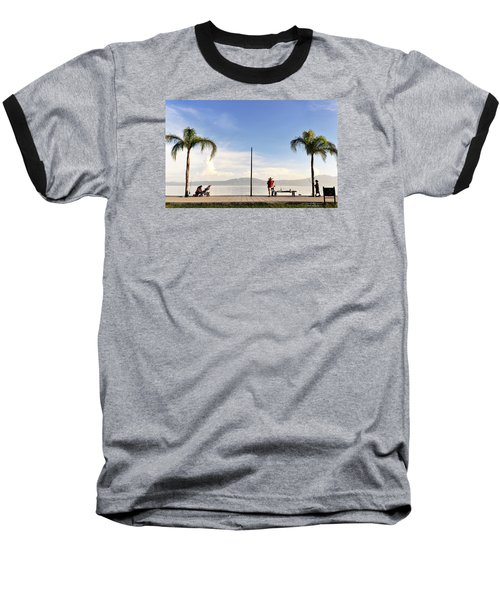 Baseball T-Shirt featuring the photograph Fishing On Lake Chapala by David Perry Lawrence