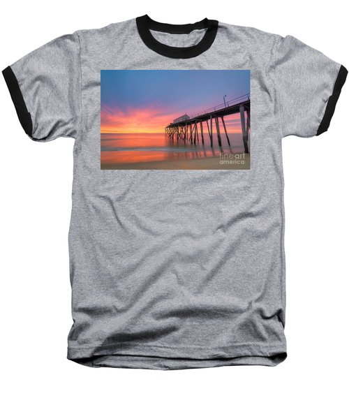Fishing Pier Sunrise Baseball T-Shirt