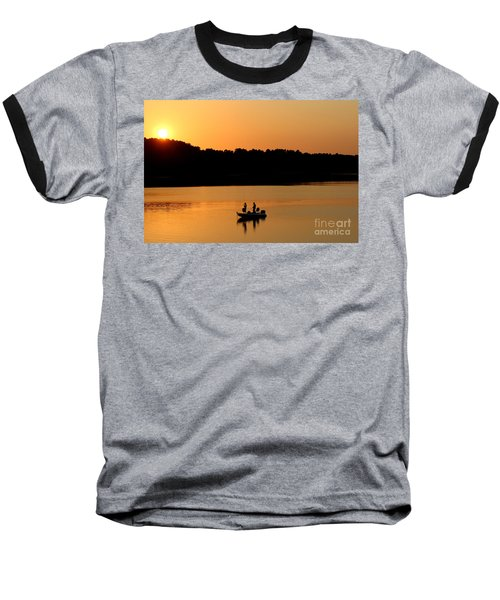Baseball T-Shirt featuring the photograph Fishing Silhouette  by Kathy  White