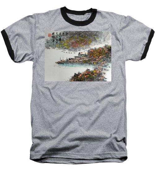 Fishing Village In Autumn Baseball T-Shirt by Yufeng Wang