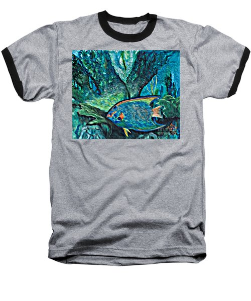 Baseball T-Shirt featuring the painting Fishscape by Ecinja Art Works