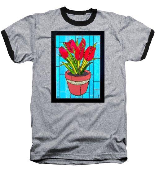 Five Red Tulips Baseball T-Shirt by Jim Harris