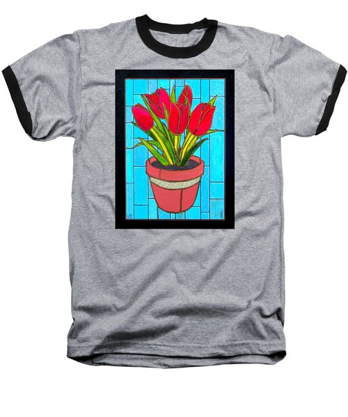 Five Red Tulips Baseball T-Shirt