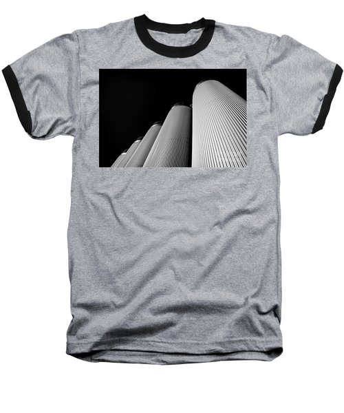 Five Silos In Black And White Baseball T-Shirt