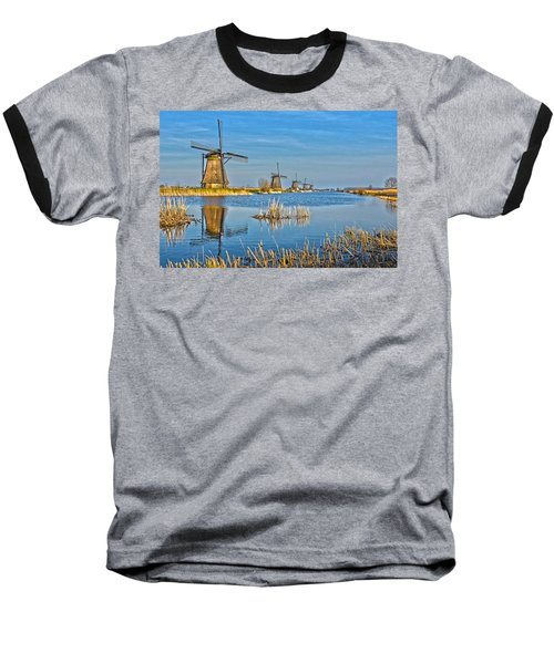 Five Windmills At Kinderdijk Baseball T-Shirt