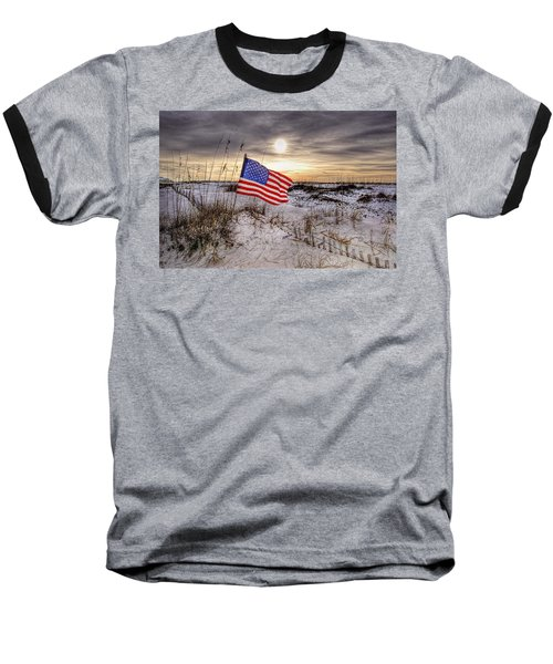 Flag On The Beach Baseball T-Shirt