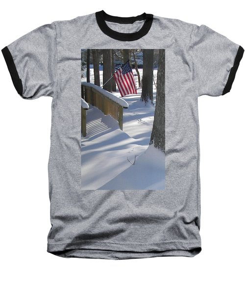Baseball T-Shirt featuring the photograph Flag Over Morning Snow by Pamela Hyde Wilson