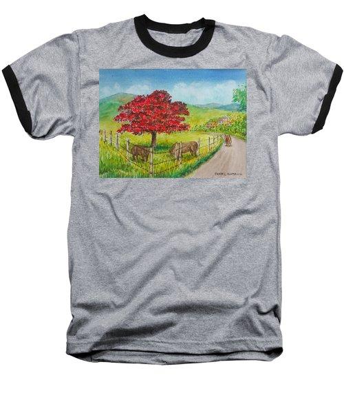 Flamboyan And Cows In Western Puerto Rico Baseball T-Shirt
