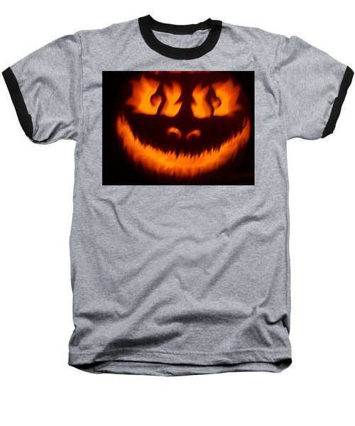 Flame Pumpkin Baseball T-Shirt