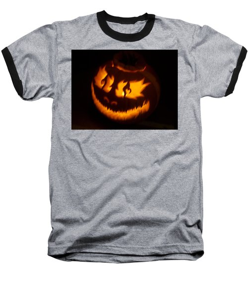 Flame Pumpkin Side Baseball T-Shirt by Shawn Dall