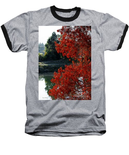 Flame Red Tree Baseball T-Shirt by Susan Wiedmann