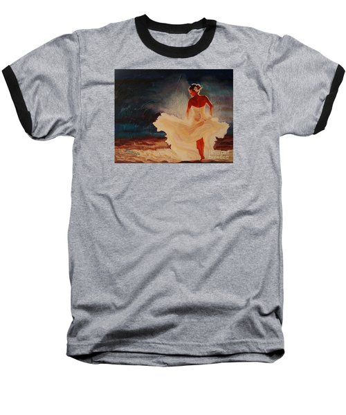 Baseball T-Shirt featuring the painting Flamenco Allure by Janet McDonald