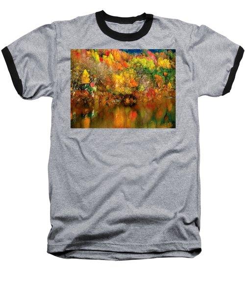 Flaming Autumn Abstract Baseball T-Shirt