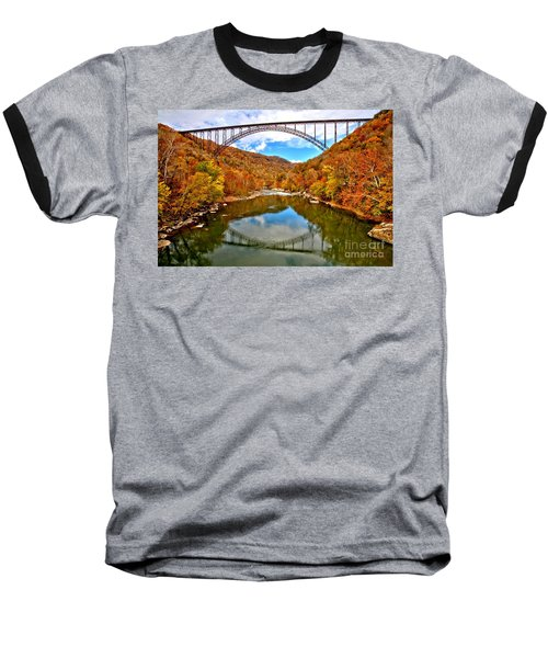 Flaming Fall Foliage At New River Gorge Baseball T-Shirt