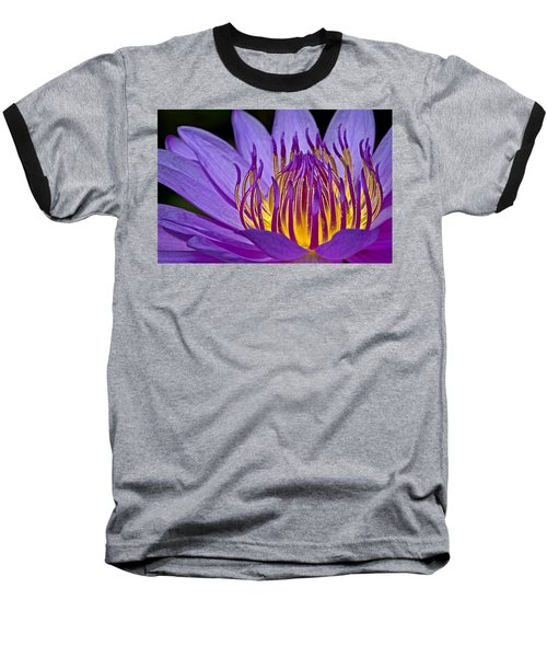 Flaming Heart Baseball T-Shirt by Susan Candelario