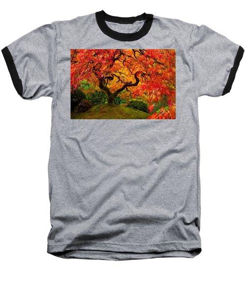 Flaming Maple Baseball T-Shirt