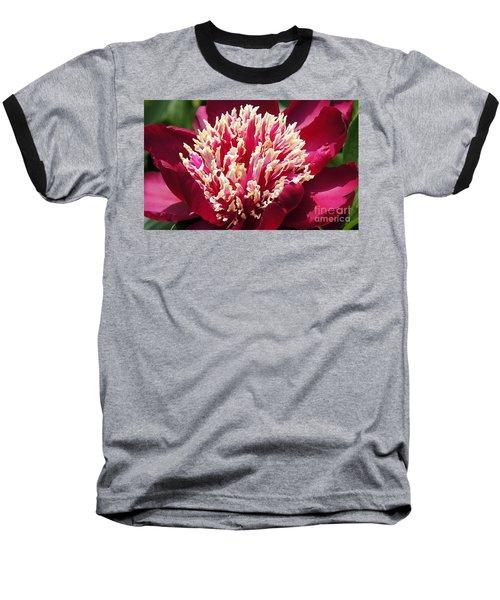 Flaming Peony Baseball T-Shirt by Lilliana Mendez