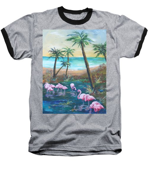 Flamingo Beach Baseball T-Shirt