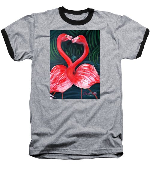 Flamingo Love Card Baseball T-Shirt