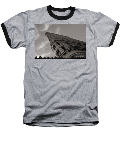 Flat Iron Building Baseball T-Shirt by Angela DeFrias