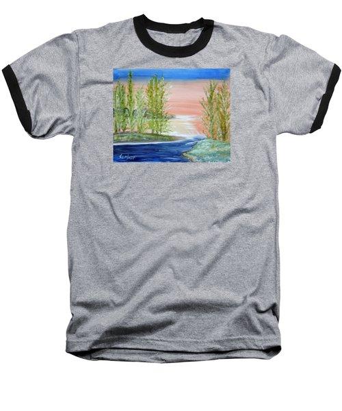 Flathead Lake Sunset Baseball T-Shirt