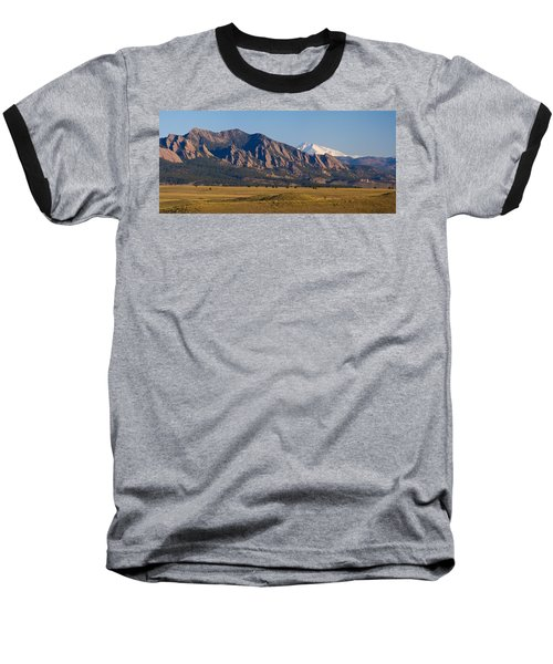 Flatirons And Snow Covered Longs Peak Panorama Baseball T-Shirt