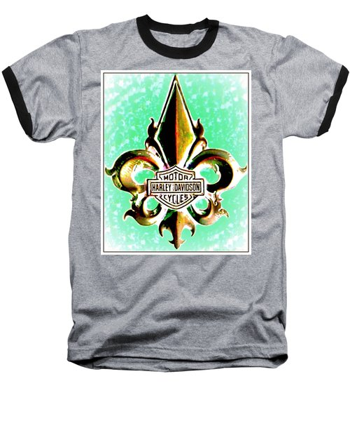 Fleurs De Lys And Harley Davidson Logo Bronze Green Baseball T-Shirt