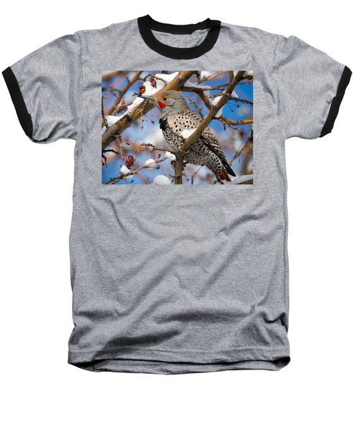 Flicker In Snow Baseball T-Shirt