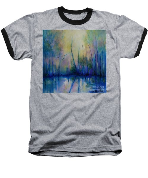 Baseball T-Shirt featuring the painting Flight In Morning Symphony by Alison Caltrider