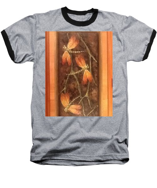 Baseball T-Shirt featuring the painting Flight Of The Dragons by Megan Walsh