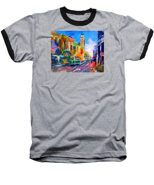 Baseball T-Shirt featuring the painting Flinders Street - Original Sold by Therese Alcorn