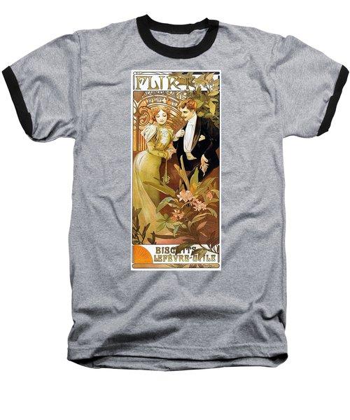 Flirt Baseball T-Shirt by Alphonse Mucha