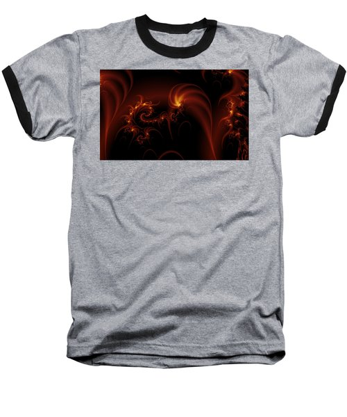 Floating Fire Fractal Baseball T-Shirt by Fran Riley
