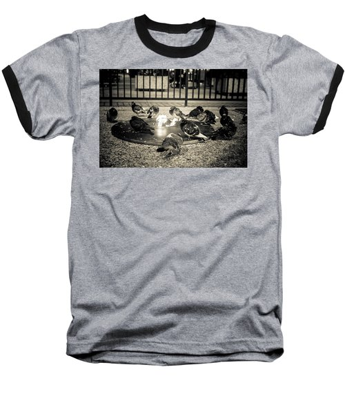 Flockin' Around The Fire Baseball T-Shirt by Melinda Ledsome
