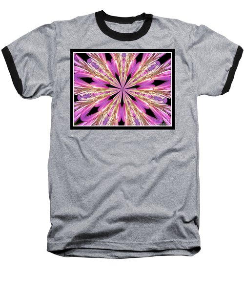 Floral Kaleidoscope  Waterlily Baseball T-Shirt by Rose Santuci-Sofranko