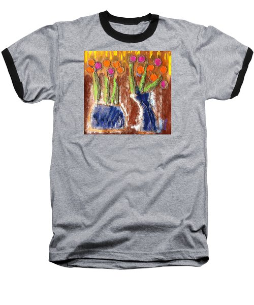Baseball T-Shirt featuring the painting Floral Puffs by Cleaster Cotton