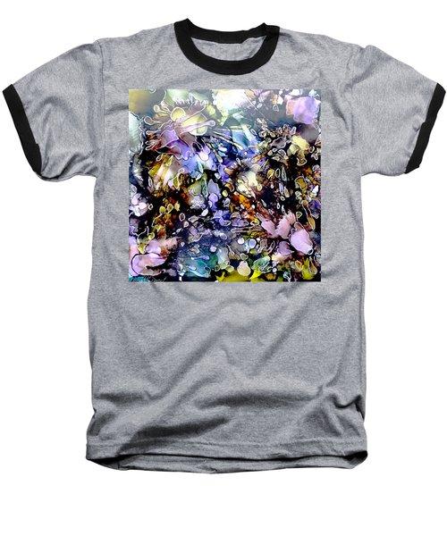 Floral Summer Celebration Alcohol Inks Baseball T-Shirt