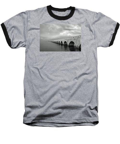 Florida Keys Seven Mile Bridge Black And White Baseball T-Shirt by Photographic Arts And Design Studio