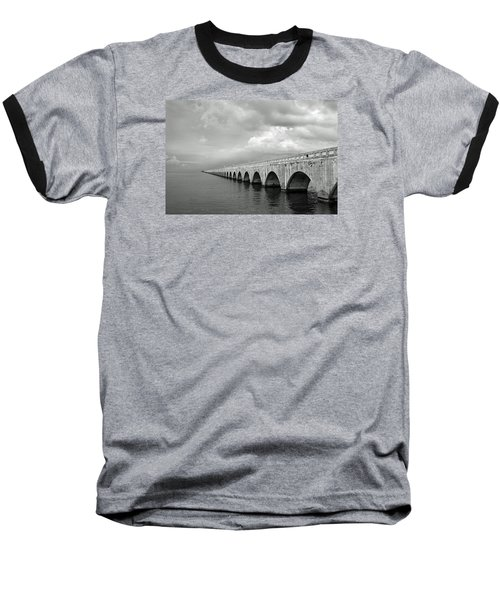 Florida Keys Seven Mile Bridge Black And White Baseball T-Shirt