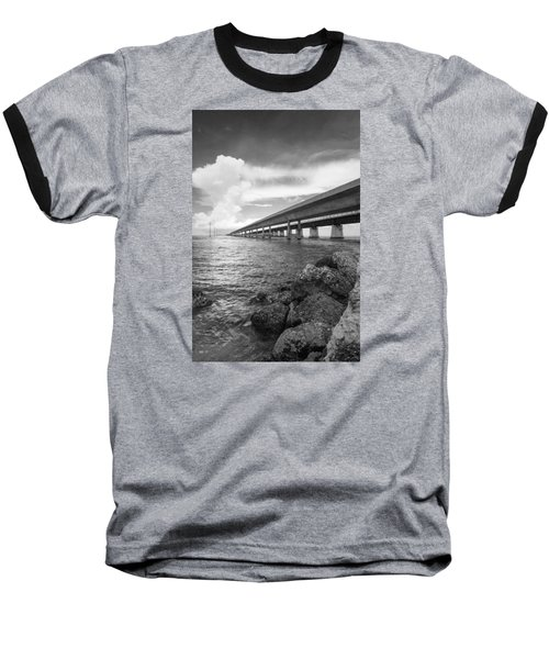 Florida Keys Seven Mile Bridge South Bw Vertical Baseball T-Shirt