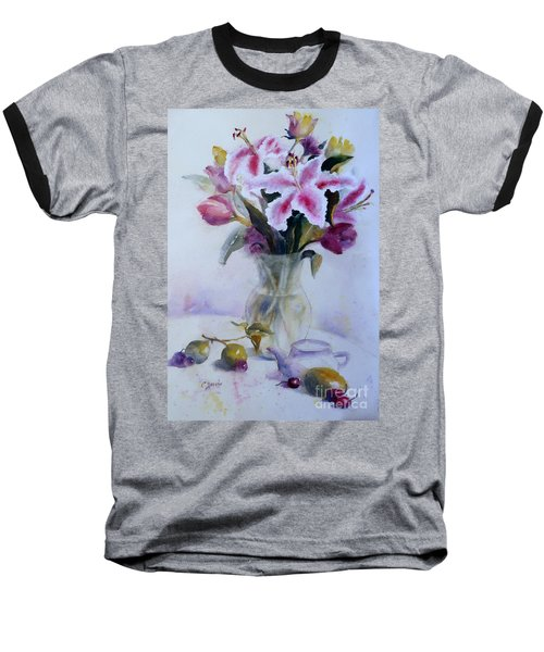 Flower Bouquet With Teapot And Fruit Baseball T-Shirt
