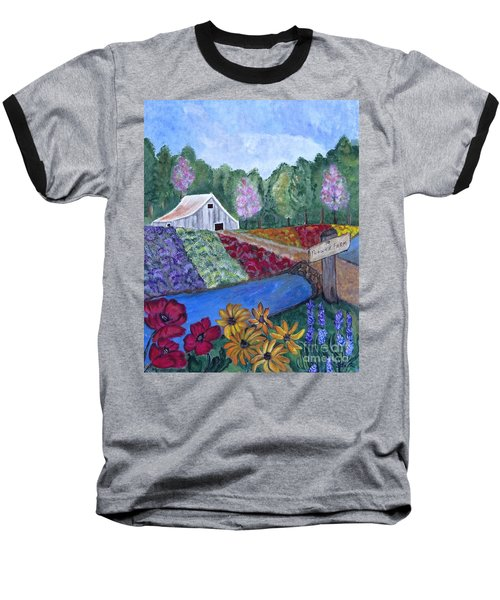 Baseball T-Shirt featuring the painting Flower Farm -poppies Daisies Lavender Whimsical Painting by Ella Kaye Dickey