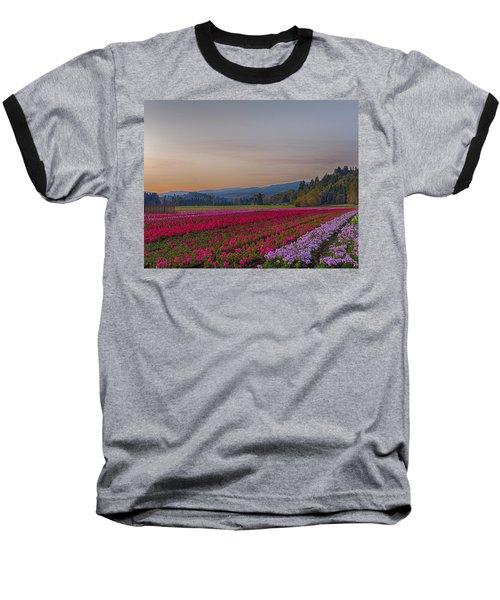 Flower Field At Sunset In A Standard Ratio Baseball T-Shirt