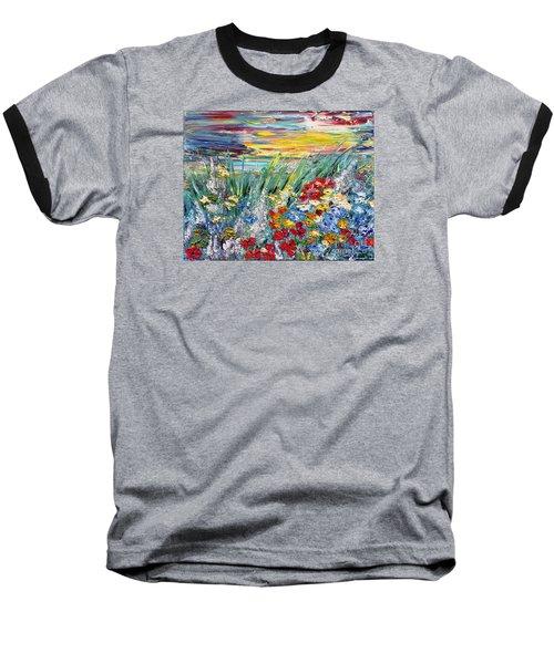 Flower Field Baseball T-Shirt by Teresa Wegrzyn
